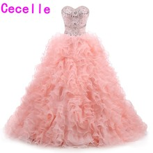 cecelle 2019 Ball Gown Coral Prom Dresses Sweetheart Beaded