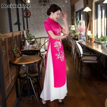 2019 pink vietnam aodai chinese traditional clothing for woman qipao chinese oriental dress modern cheongsam ao dai 2019 summer white woman aodai vietnam traditional clothing ao dai vietnam robes and pants vietnam costumes improved cheongsam