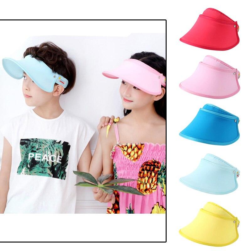 Wide Brim Children Cap Summer Visor Cap For Boys UV Protect Empty Kids Hat Breathable Sunscreen Cap Outdoor Beach Children Hat
