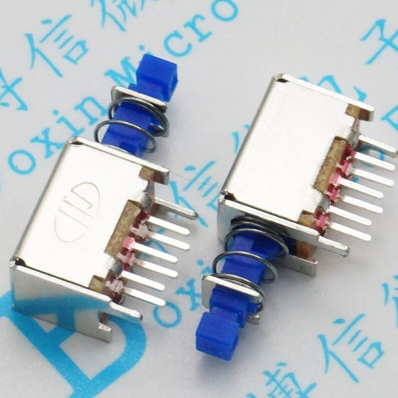 A04 straight key switch Small key-press switch power switch with blue handle lock [ lock ] side press the switch 10mmx10mm shaft length 9mm