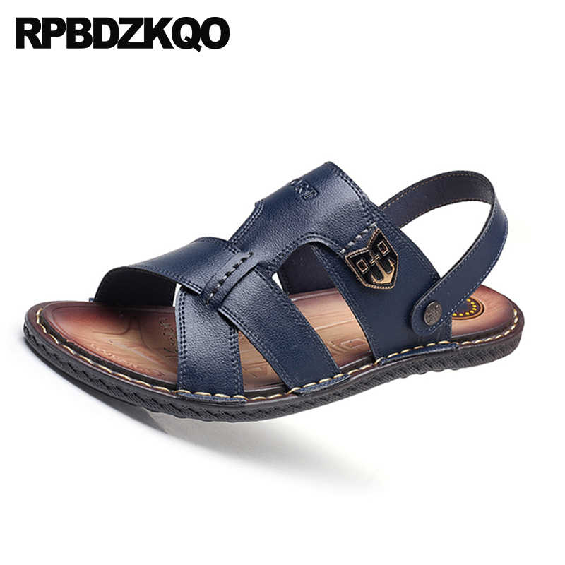 5b4eb79efb4 ... Flat Slippers Shoes Waterproof Breathable Native Beach Blue Italian  Slides Sport Black Outdoor Men Sandals Leather ...