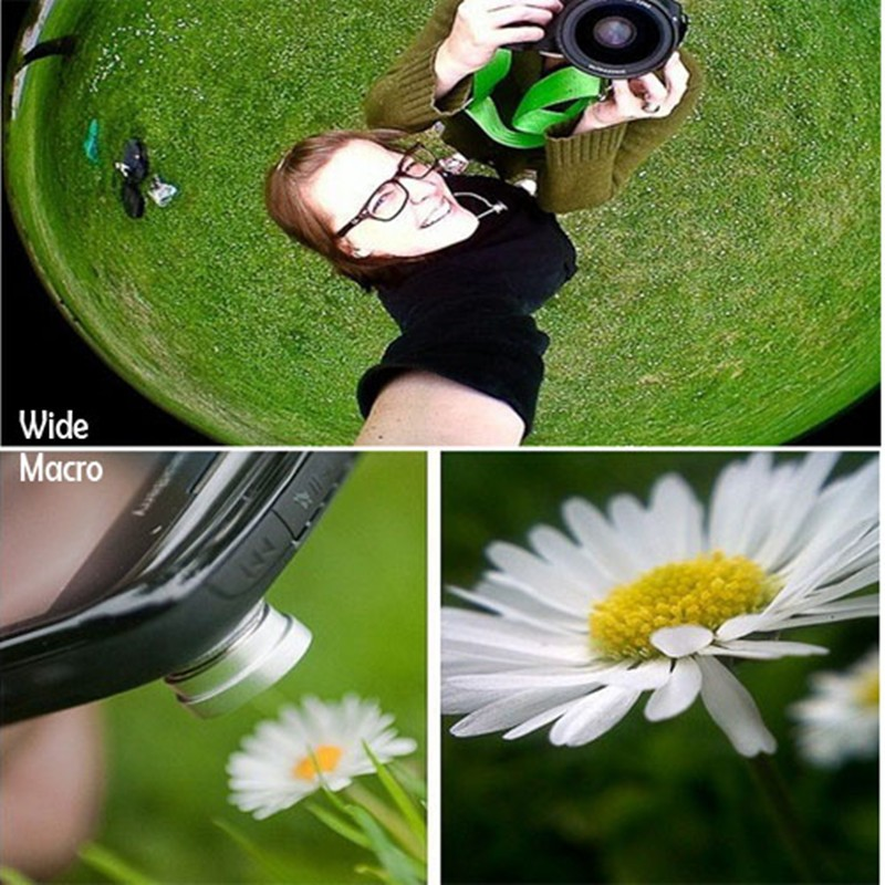 Universal Fish Eye 3in1 + Clip Fisheye Smartphone Camera Lens Wide Angle Macro Mobile Phone Lents blue as picture 7