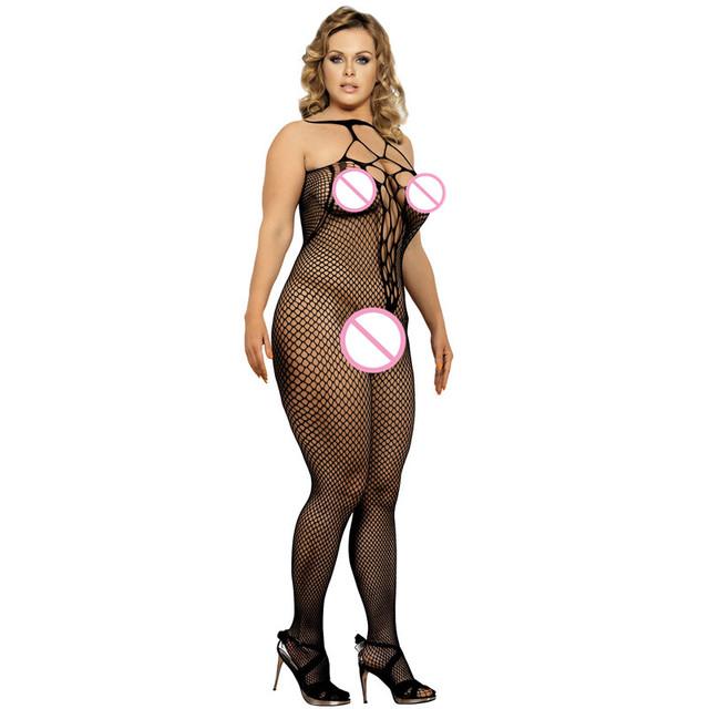 Black fishnet bodystocking plus size see through sheathy