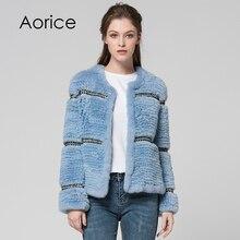 Aorice CT7027 Rex casacos de Pele De Coelho malha real novo coelho casaco de pele das mulheres jaqueta casaco de inverno quente grossa genuína pele