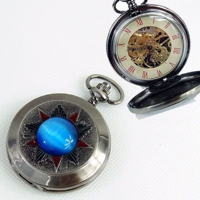 Silve Tone Skeleton Pocket Watch W/Blue Stone in Box одежда из меха blue stone in autumn 056 2015