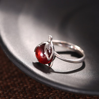 925 silver fox red pomegranate silver ring ring Ms. opening new listing special group