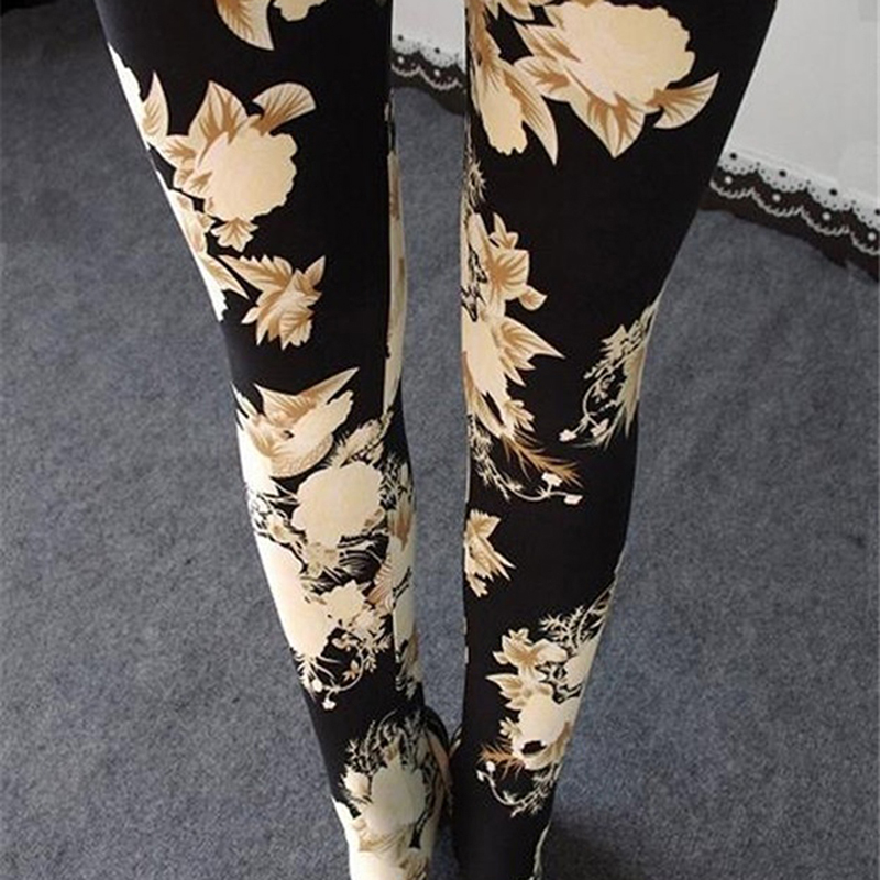 Fashion Flowers Print Women Leggings Floral Leggings For Women Female Ankle Length Pencil Leggins Ladies Stretch Skinny Legins