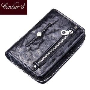 Image 1 - 2020 novo feminino curto zíper bolsas de pele de carneiro carteira titular do cartão com bolsos de moeda