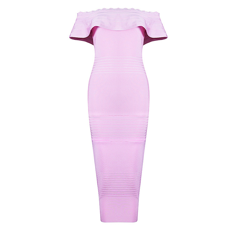 Bqueen 2017 ženske ružičaste haljine s ramenima na vratu, mid-tele - Ženska odjeća - Foto 6