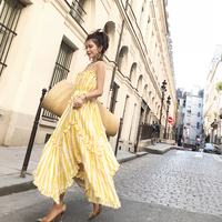 2018 new beach holidays Lumino asymmetric ruffled yellow striped linen midi dress Comfortable 100% linen Sling Dress