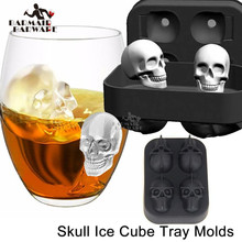 Hot Sales Halloween Flexible 3D Skull Silicone Ice Cube Mold Tray Makes Four Giant Round Maker Black