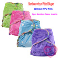 1PCS Reusable Bamboo Velour Fitted Diaper Bamboo Fleece Insert Snaped  Inside  Natual Organic fitted diaper Wholeasale Selling