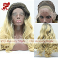 wholesale hair blonde ombre wig dark root long natural body wave wigs heat resistant Brazilian Hair synthetic lace front wig