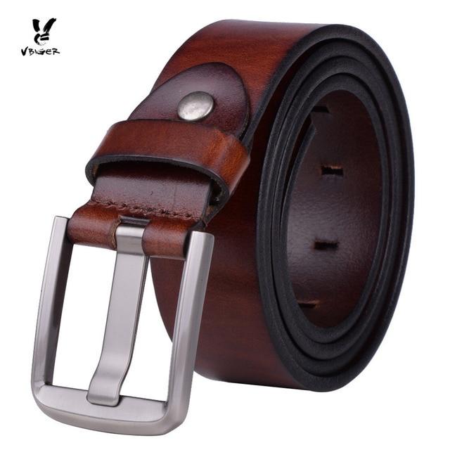 ab78a2e60273 VBIGER Men Leather Belt Simple Fashionable Male Waist Leather Belt Strap Men  with Alloy Pin Belt