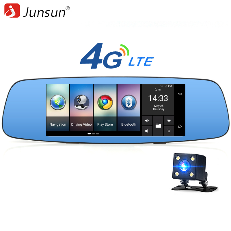 Junsun A800 4G/3G Car DVR Mirror 7 Android 5.1 GPS Dash cam Video Recorder Rear view mirror with DVR and Camera Registrar 16GB