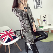 2015 houndstooth with a hood woolen outerwear autumn and winter female medium-long thickening woolen overcoat