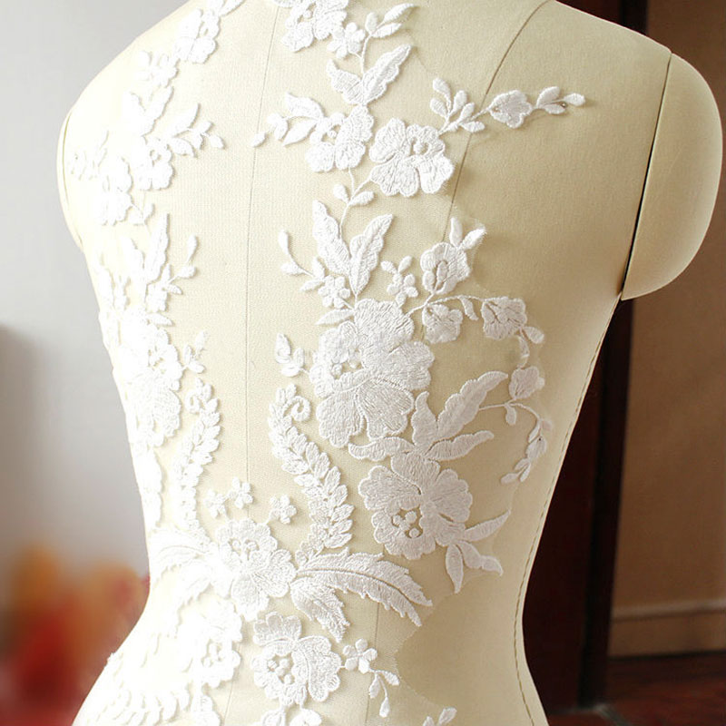 1pcs high-end Lace Fabric Cotton Embroidered Applique DIY High-end Wedding Dress Accessories Handmade Black