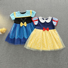 Girls Anna Elsa Snow White Princess Dresses Kids Summer Cartoon A Line Cotton Costume Children Toddler Casual Cosplay Dress
