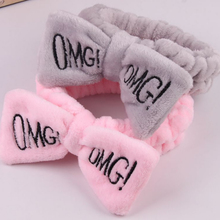 New letter OMG coral fleece girl soft bow hair band cute clip headband style accessories