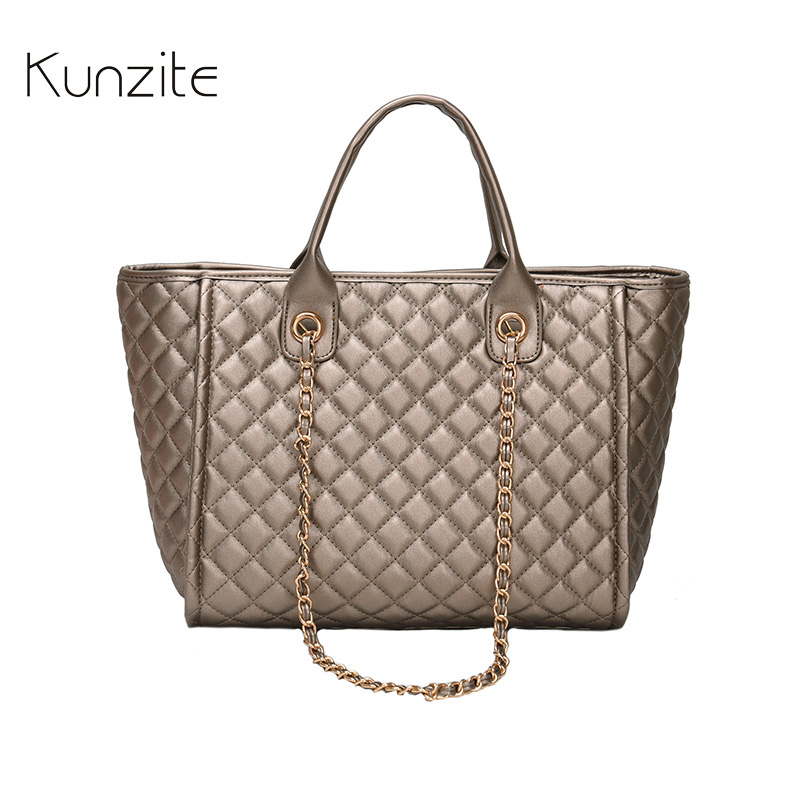 KUNZITE Brand Luxury Handbags Women Plaid Bags Designer Female Leather Messenger Bag Large Capacity Black Portable