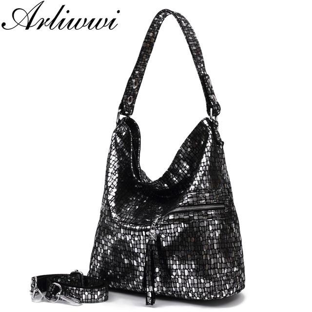 Arliwwi Brand 100% Real Leather Shiny Black Silver Women High Quality  Shoulder Bags Lady Genuine Soft Cow Leather Handbags 1428ab5f89
