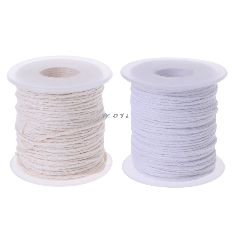 1 Pc 61m Cotton Braid Candle Wick Core Spool Non-smoke DIY Oil Lamps Candles Supplies