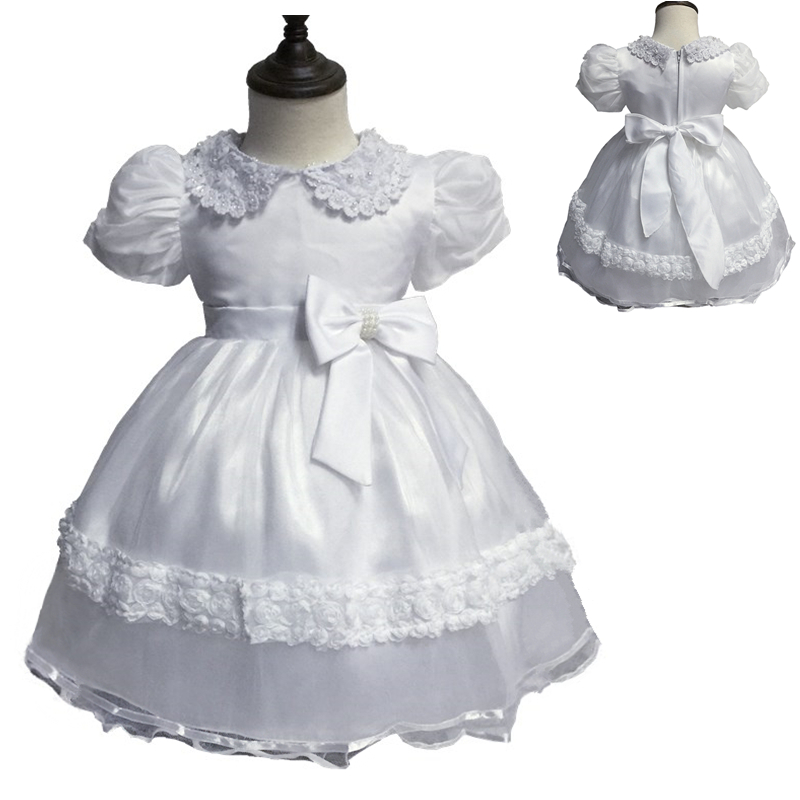 Free Shipping Cute 0-2 Year Baby Dress Cheap White Communion Dresses Short Puff Sleeve Infant Gowns With Bow Factory Stock Sales