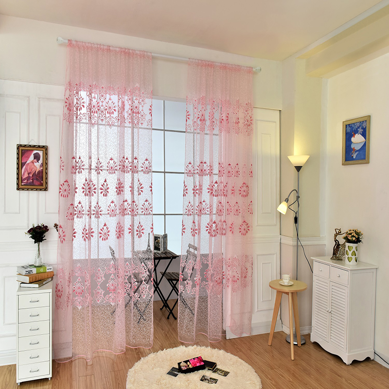 Modern Printed Window Curtains Sheer Fabric For living room Bedroom balcony kitchen Sun-shading Tulle Curtain Home Decoration