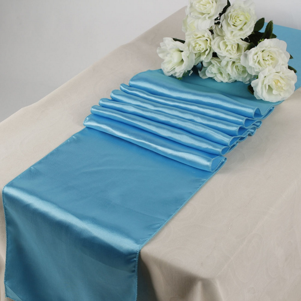 10 pieces Satin Table Runners Color Turquoise for Wedding Party ...
