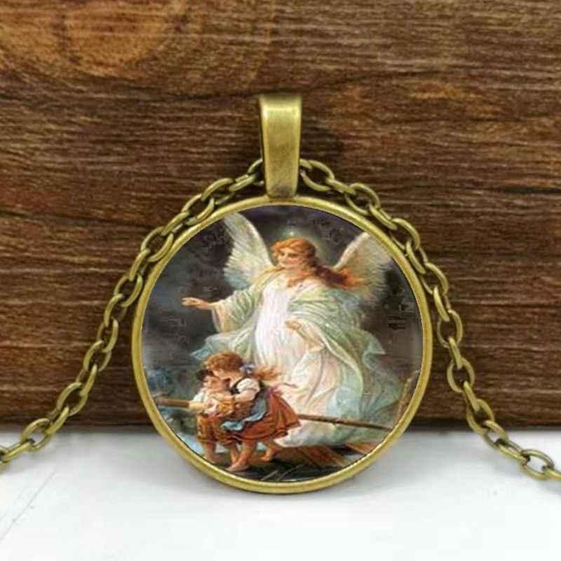 Guardian Angel Necklace Guardian Angel Photo Glass Dome Necklace Pendant Angel Necklace
