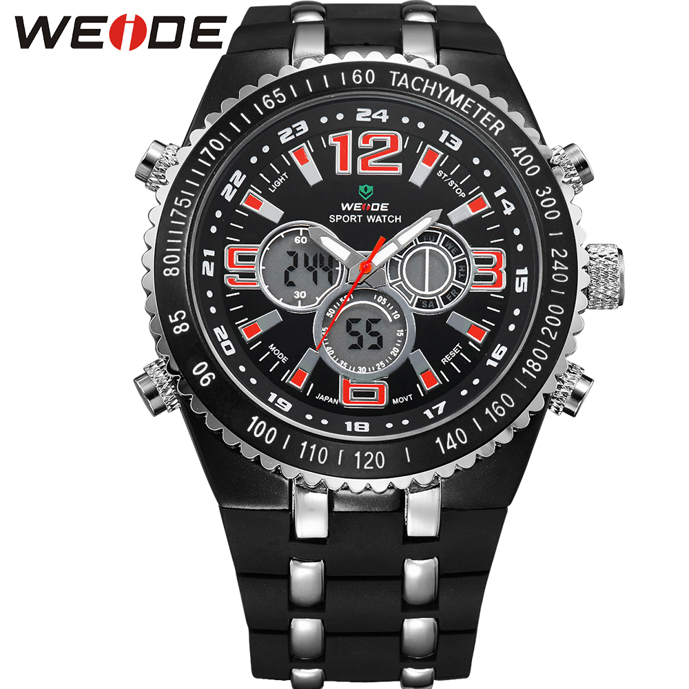 цены  WEIDE Big Dial Mens Sport Watch Waterproof Quartz Analog Digital Dual Time Display PU Bands Multi-Functional Watches For Men