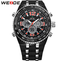 WEIDE Big Dial Mens Sport Watch Waterproof Quartz Analog Digital Dual Time Display PU Bands Multi-Functional Watches For Men