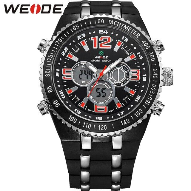 4ecaa364b10e WEIDE Gran Dial Para Hombre Reloj de Cuarzo Resistente Al Agua Analógico  Digital Dual Time Display