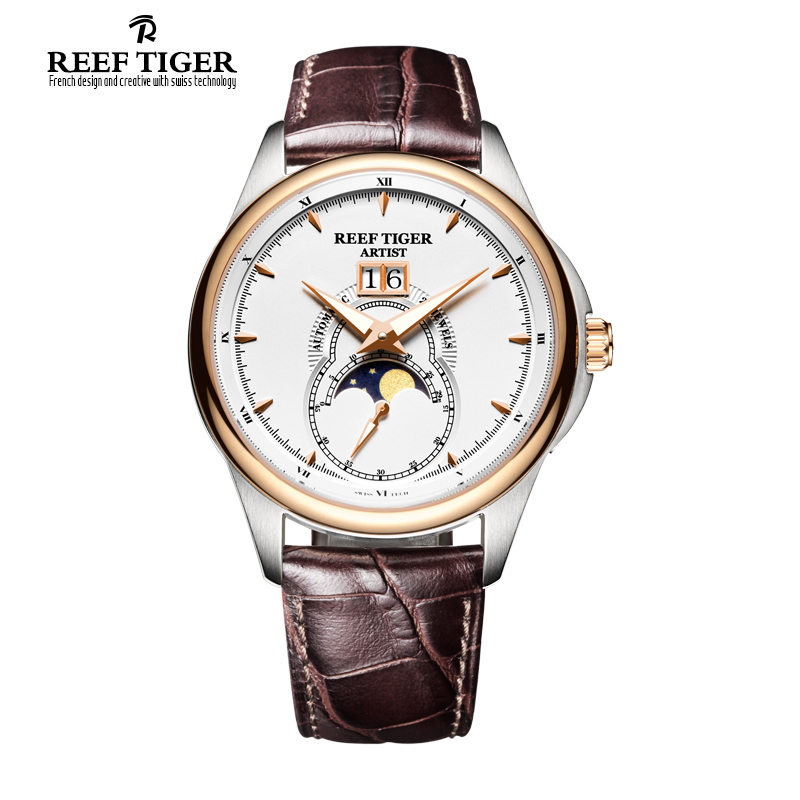 Reef Tiger brand relojes hombre 2017 Watches for Men Stainless Steel Moon Phase Automatic leather Watch saat relogio masculino