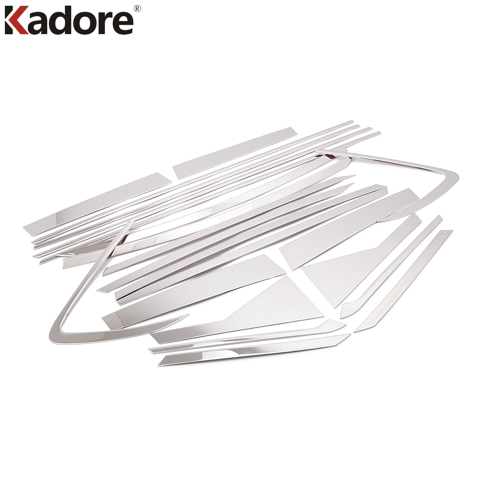 Car Styling For Kia Carens 2013-2017 Stainless Steel Auto Full Window Frame+ Window Middle Center Pillars Cover Trim 22pcs/set full window trim decoration strips stainless steel car styling accessories for honda fit jazz 2013 2014 2015 oem 14 20
