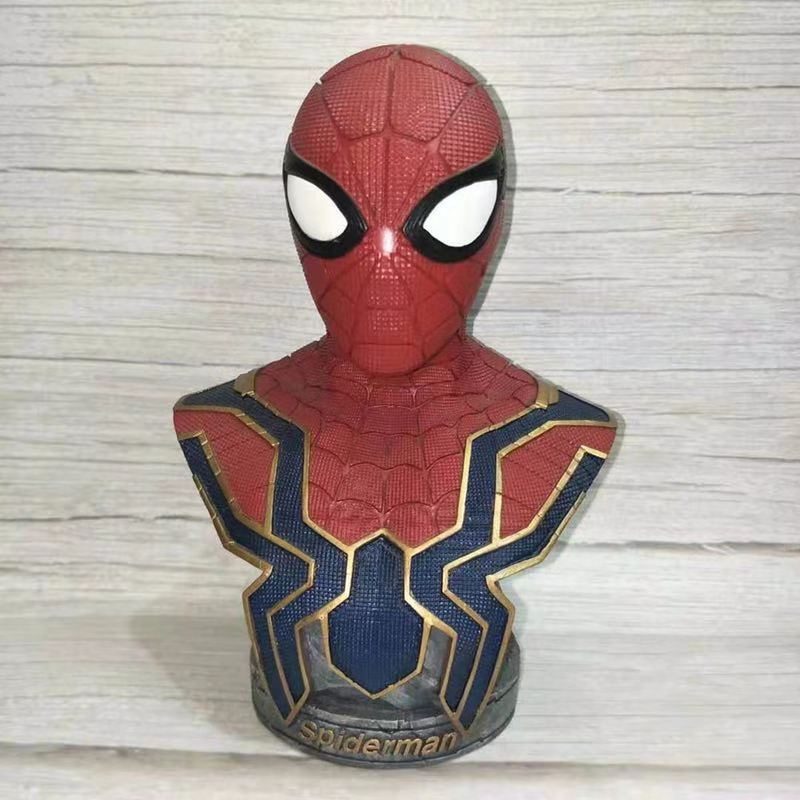 18CM Spider Man Avengers Statue  Bust Figurine Dolls Toys Resin Action Figure Collectible Model Toy Kids Gift18CM Spider Man Avengers Statue  Bust Figurine Dolls Toys Resin Action Figure Collectible Model Toy Kids Gift