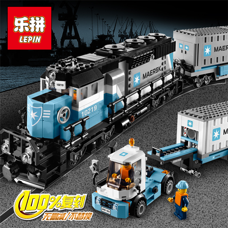 Lepin 21006 1234pcs Genuine Technic Ultimate Series The Maersk Train Set Building Blocks Bricks Toys Compatible legoed 10219 lepin 22002 1518pcs the maersk cargo container ship set educational building blocks bricks model toys compatible legoed 10241