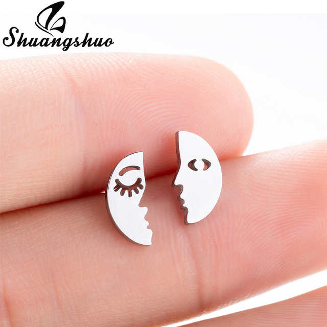 9c1bf5e7c4c44 US $0.66 39% OFF|Shuangshuo Simple Moon Face Stud Earrings Crescent Half  Moon Earring Ear Accessories for Women Fashion Stainless Steel Jewelry-in  ...