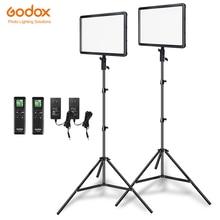 Godox 2pcs LEDP260C דק 30W 3300 5600k LED וידאו אור לוח מנורה עם 2pcs 2m אור Stand עבור וידאו סטודיו אורות