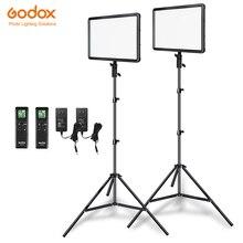 Đèn Flash Godox 2 Chiếc LEDP260C Cực 30W 3300 5600K Đèn LED Video Bảng Điều Khiển Đèn 2 chiếc Giá Đỡ 2M Cho Video Đèn Studio