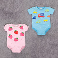 Preax Kids Newly baby Romper Car strawberry Trimed Baby Wear Jumpsuit Baby Girl Boy Bebe Clothing Set Body Suits