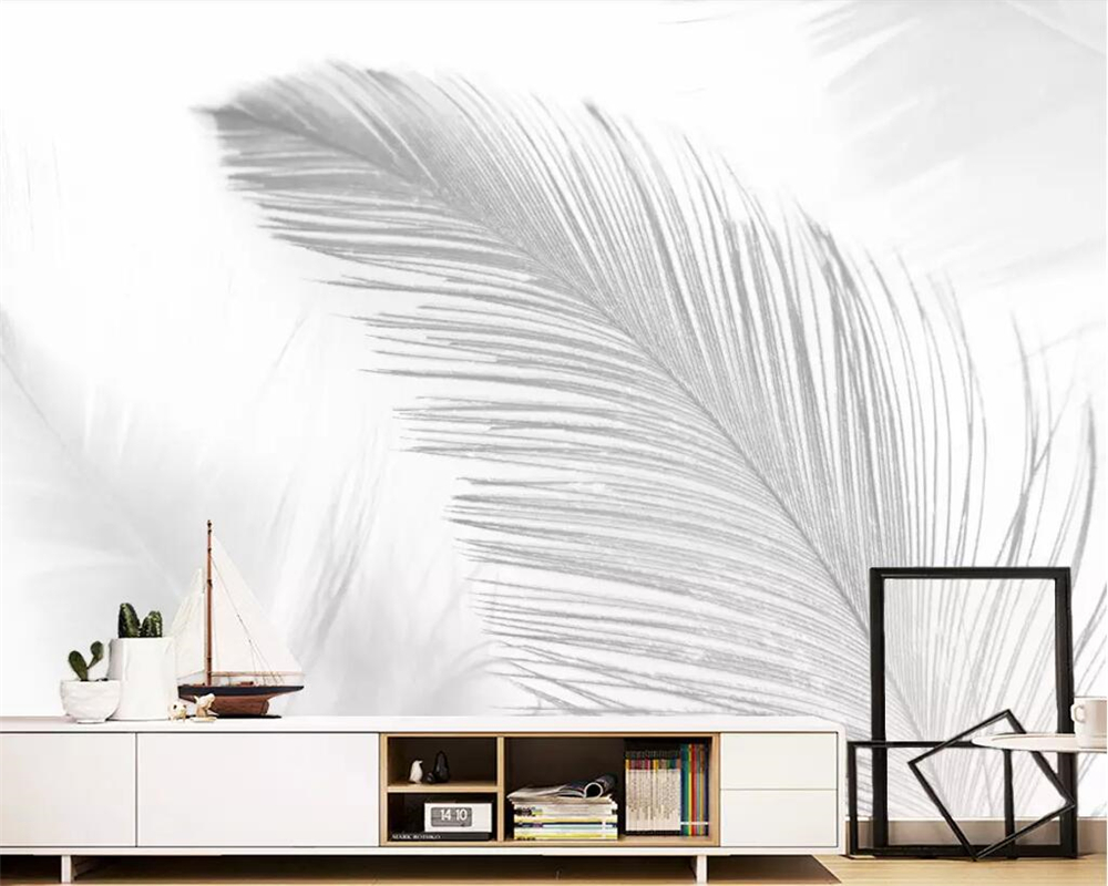 Us 885 41 Offbeibehang Custom Wallpaper Nordic Pure White Abstract Blue White Art Feather Living Room Bedroom Tv Background Wall 3d Wallpaper In