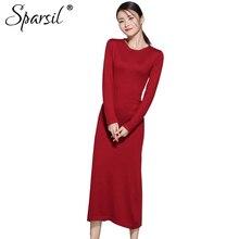 Sparsil Для женщин осень вязаный шерстяной Платья-свитеры с круглым вырезом до середины икры длинное платье эластичные прямые женские Vestido