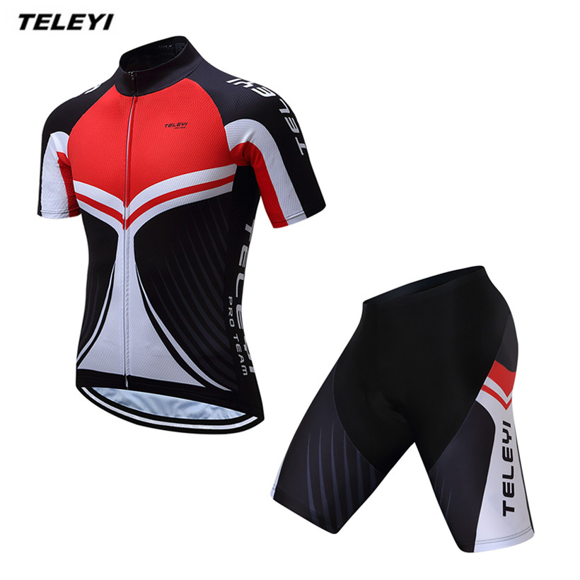 2017 TELEYI Black red MTB Bike Jersey bib shorts set Men Cycling Clothing  bicycle Top Bottom Suit Ropa Ciclismo maillot blouse 8ee2b42b1