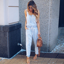 insLipswag Women Elegant Solid Loose Jumpsuit Summer Fashion Sleeveless Rompers Ladies Sreetwear Pockets Overalls Plays