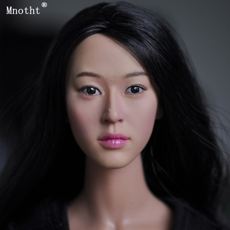 Mnotht 1/6 soldier KM 13-78 model Female Head Sculpt toy Long hair beauty girl head Carved for 12'' Action Figure Accessories dstoys d 005 1 6 scale female head sculpt beauty girl headplay long curly hair for 12 ht phicen action figure