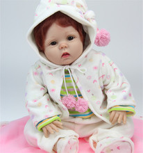 Real Like Silicone Vinyl Reborn Baby Dolls For Girl 22 Inches 55 cm Lifelike Newborn Babies With Red Short Hair Best Gift to Kid
