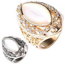 Women's Luxury Royal Style Hollow Big Resin Opal Party Wedding Ring Jewelry  6ID2