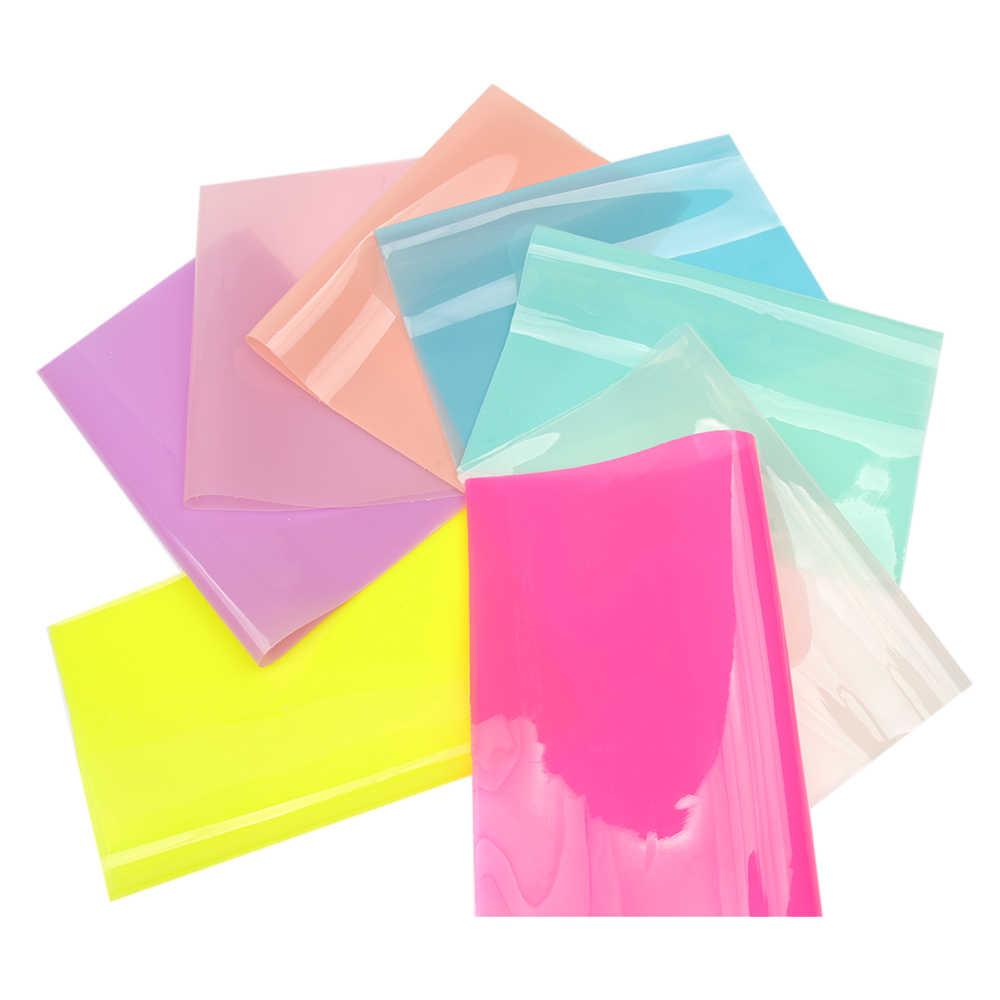 AHB 22*30cm PVC Laser Fabric Synthetic Hologram Shiny Star Transparent PVC Vinyl Fabric Party Decoration DIY Fabric For Bow