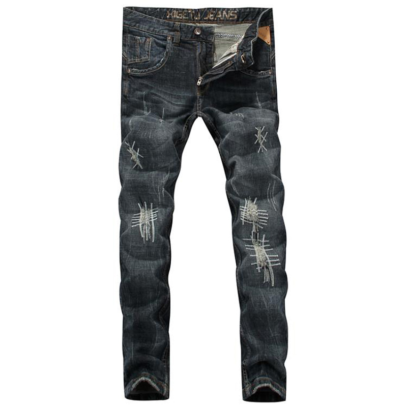 Men`s Jeans Slim Fit Patch Denim Pants Uomo Mid Stripe High Quality Designer Brand Clothing Moto Biker Jeans Men 29-38 RL626 classic mid stripe men s buttons jeans ripped slim fit denim pants male high quality vintage brand clothing moto jeans men rl617